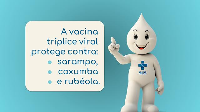 A vacina tríplice viral protege contra: sarampo, caxumba e rubéola.