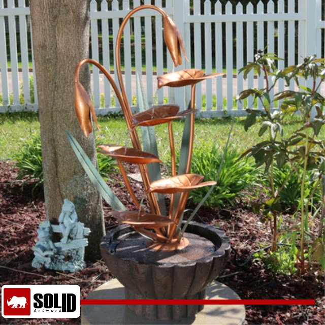 Copper Flower Petals with Five Tier Leaves Water Fountain