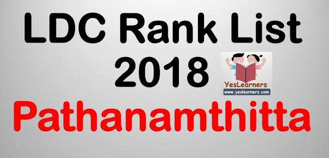 LDC Rank List 2018 - Pathanamthitta