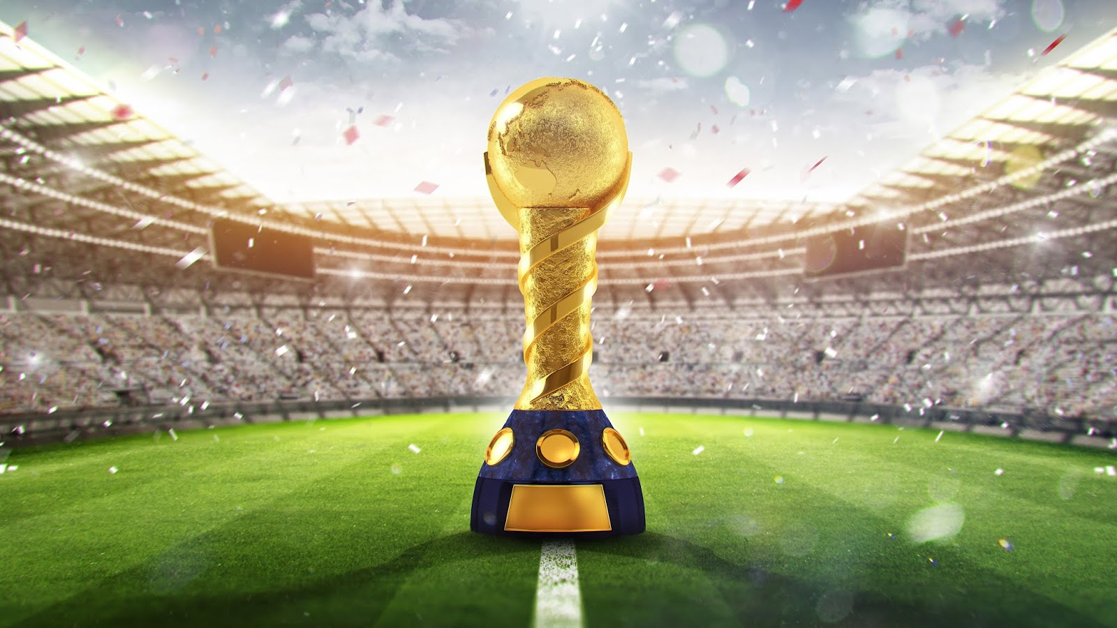 2018 FIFA World Cup, Russia, Golden trophy, Stadium, FIFA World Cup, 4K, Sports