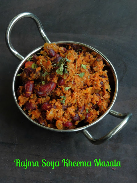 Minced Soya Kidney Beans Curry, Vegan Rajma Keema