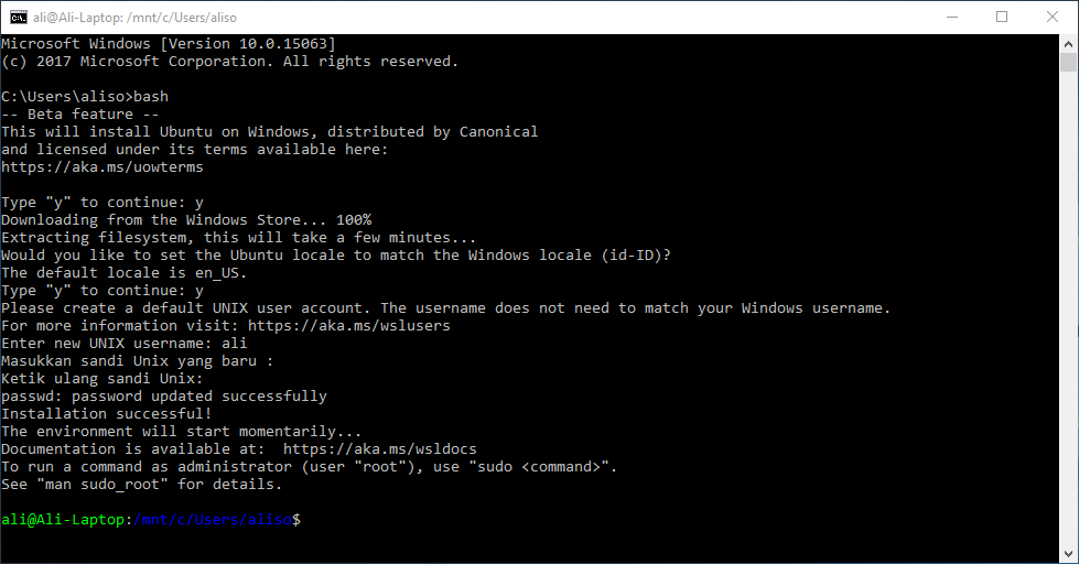 Proses Instalasi Linux Subsystem di Windows