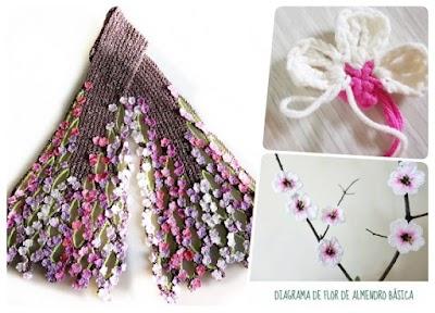 Bufanda tejida con 2 tipos de flores almendro y melocotón