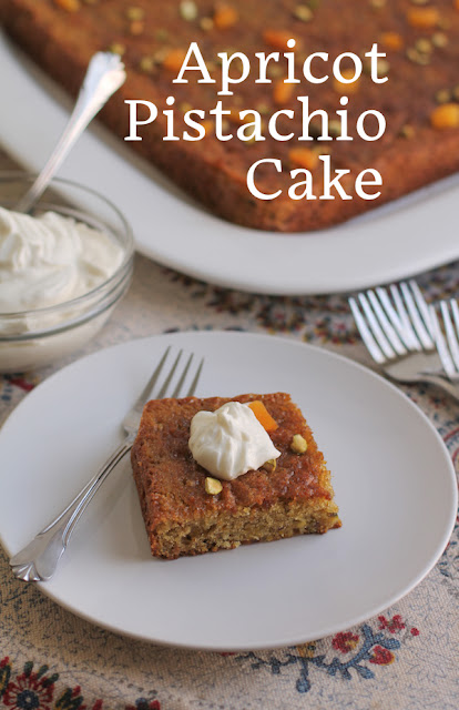 Food Lust People Love: Sweet chewy dried apricots and flavorful roasted pistachios combine with lots of creamy yogurt and butter to create one of the richness cakes you can imagine. A hint of cardamom in the batter is echoed again in the orange-cardamom syrup to finish the cake with a Middle Eastern flair.