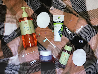 flatlay of various skincare products