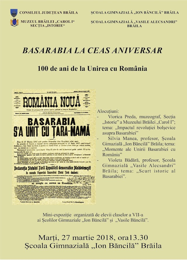 BASARABIA LA CEAS ANIVERSAR - 100 DE ANI DE LA UNIREA CU ROMÂNIA