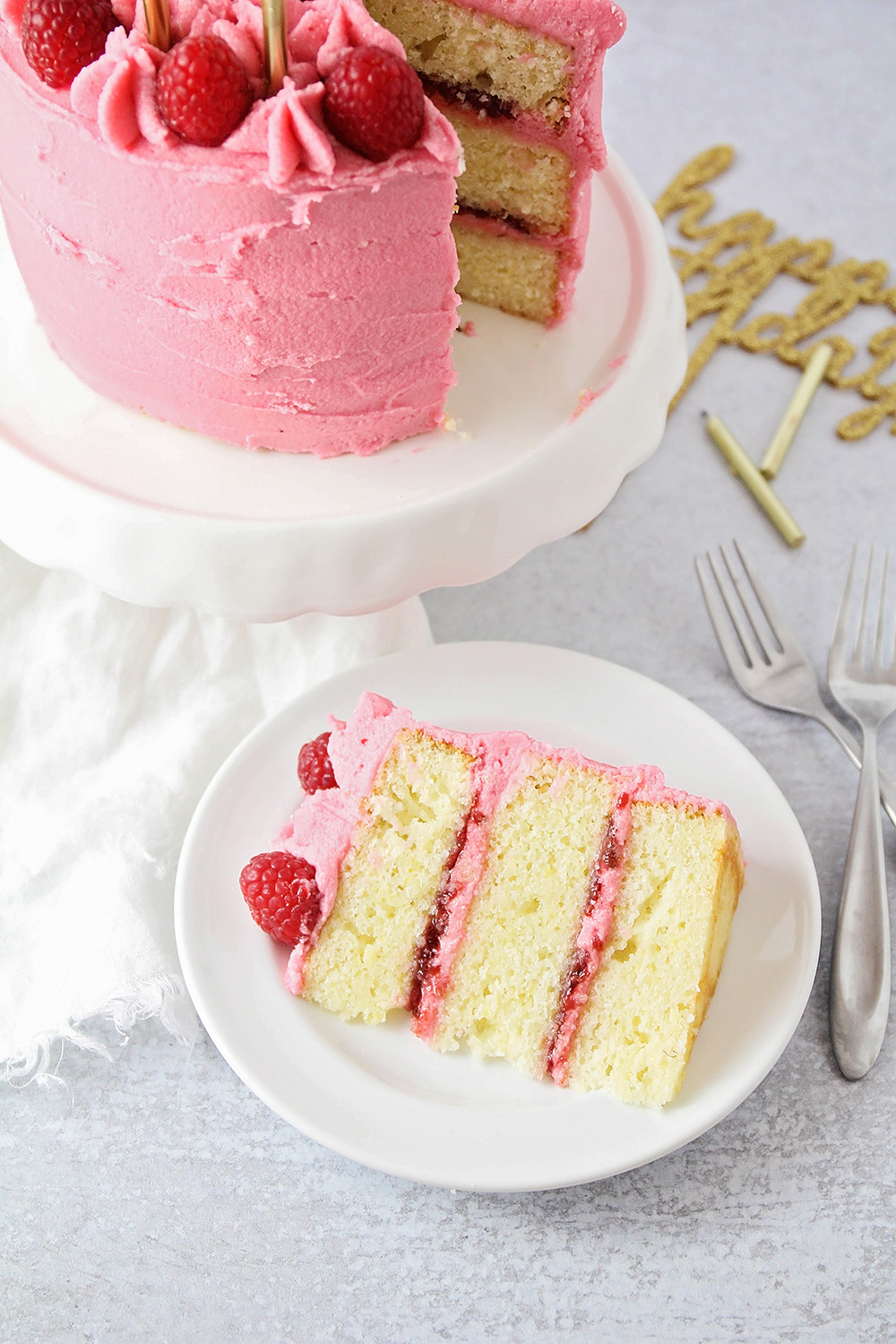 This gorgeous raspberry lemon cake has the most delicious combination of flavors. It's fresh and light, and perfect for spring!