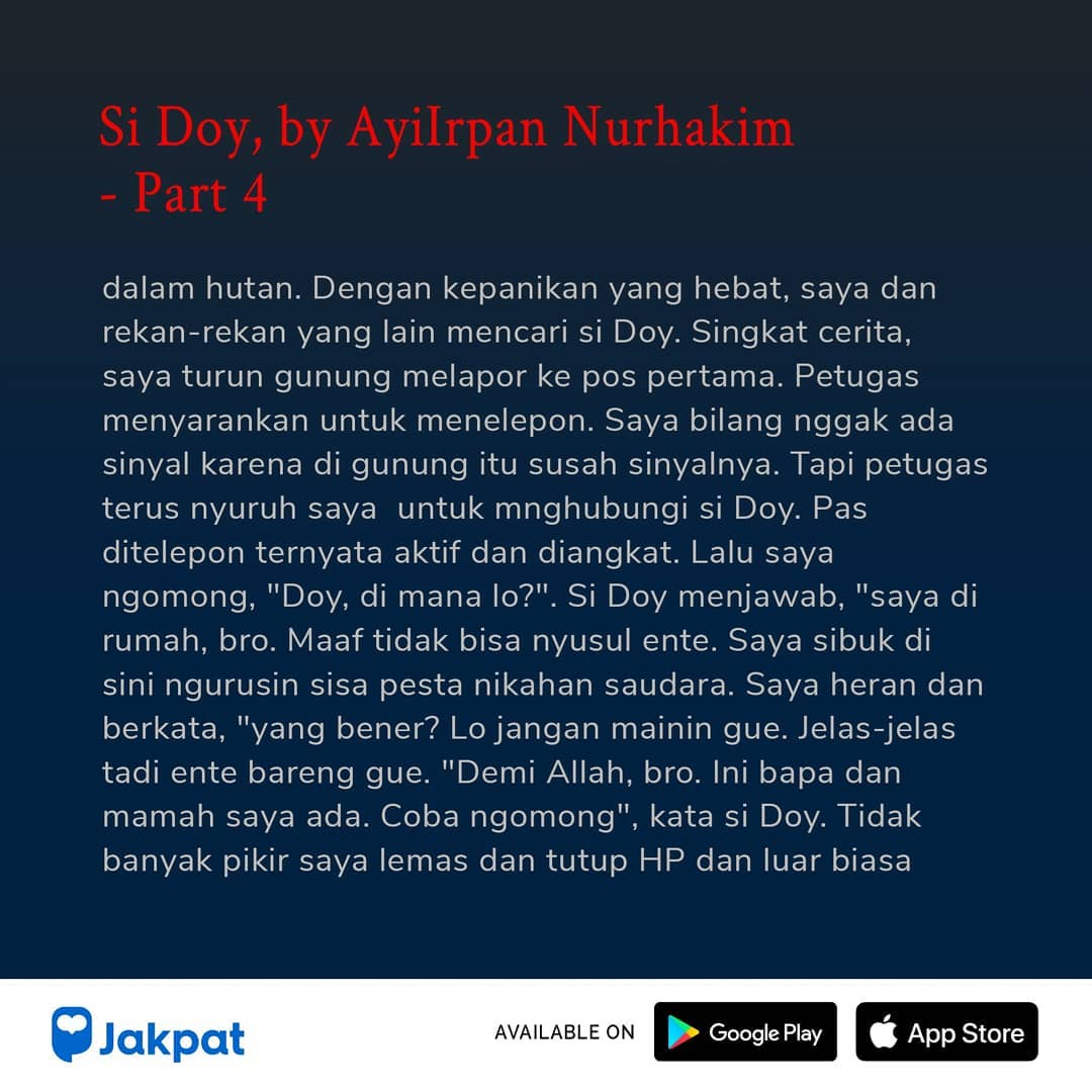 Kisah Misteri Si Doy, by Ayilrpan Nurhakim Part 4