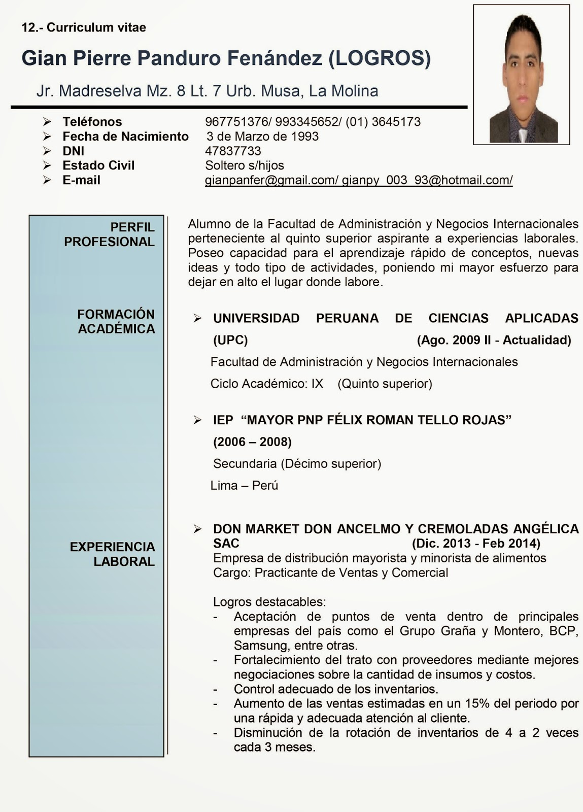 Modelo De Curriculum Vitae Upc Modelo De Curriculum Vitae