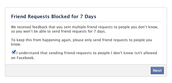 You're blocked from sending friend requests for 7 or 30 days