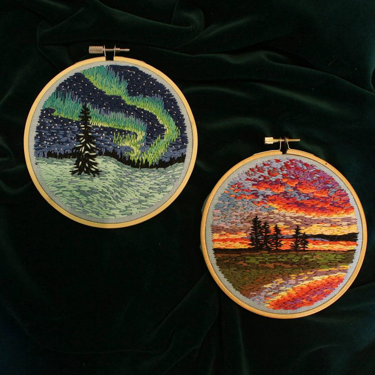 embroidery hoop express the different colors of nature