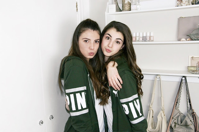 Katherine Penney Chic Blogger Siblings VS PINK hoodie khaki matching cute girls sisters brunette