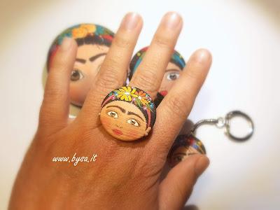 Frida Kahlo accessori dipinti a mano anello