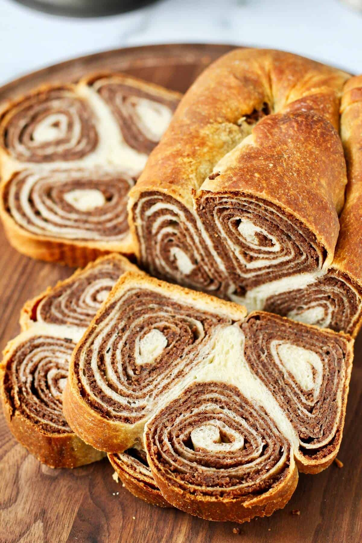 Potica slices with swirled nut filling