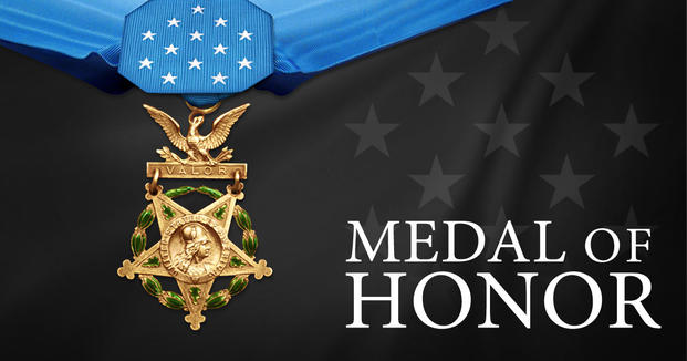 A picture of the initial design of the Medal of Honor with a five-pointed star containing clusters of laurel and oak leaves.