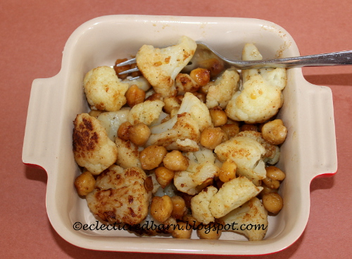 Eclectic Red Barn: 3 Ingredient Cauliflower and Chickpea Side Dish