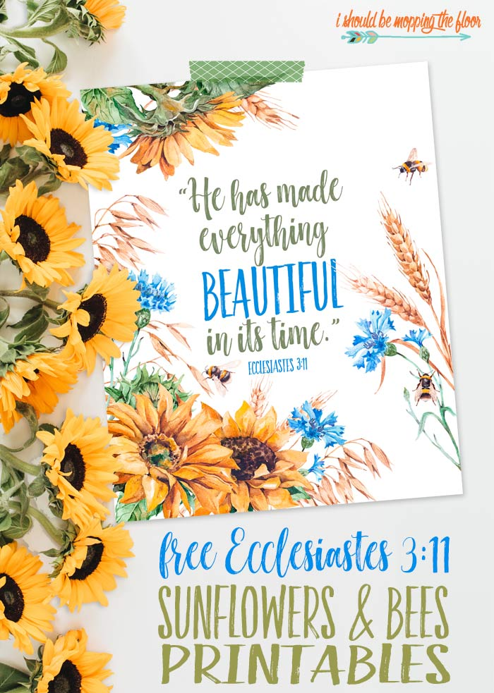 Sunflowers and Bees Printable