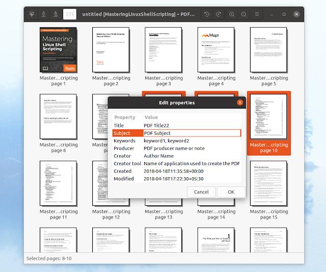 PDF Arranger edit metadata