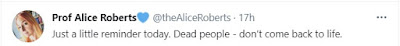 tweet by Alice Roberts
