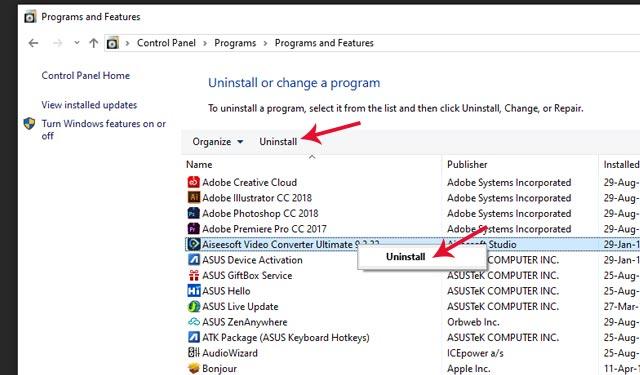 Cara Uninstall Software di PC Melalui Control Panel
