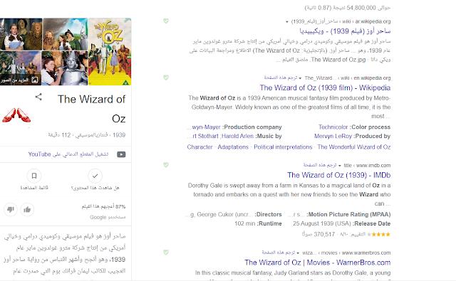 تأثير كلمة wizard of oz في محرك البحث جوجل