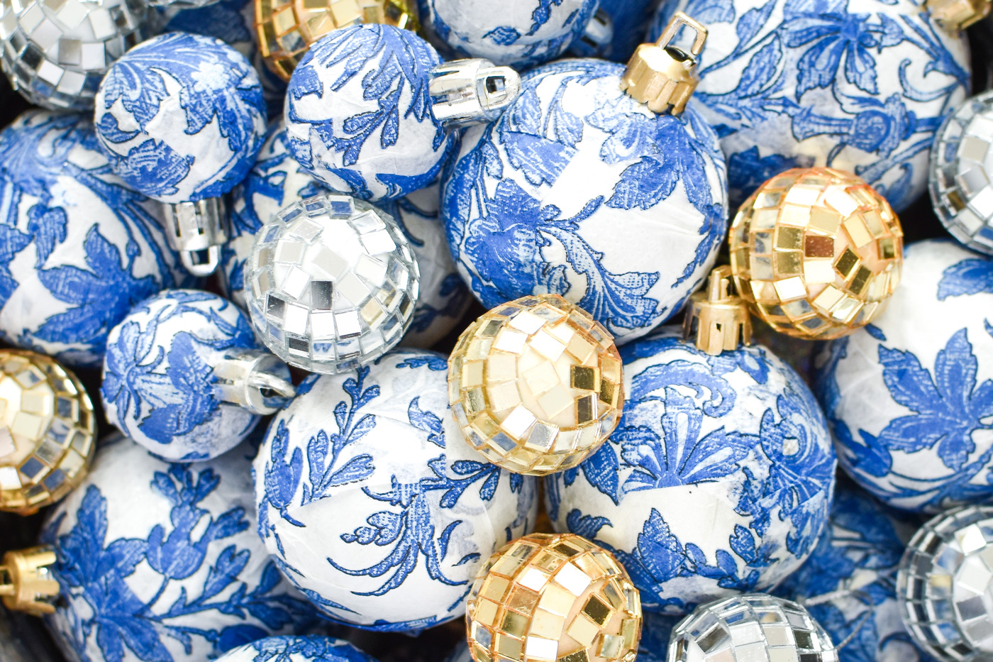 Blue and white chinoiserie DIY ornaments in a vase