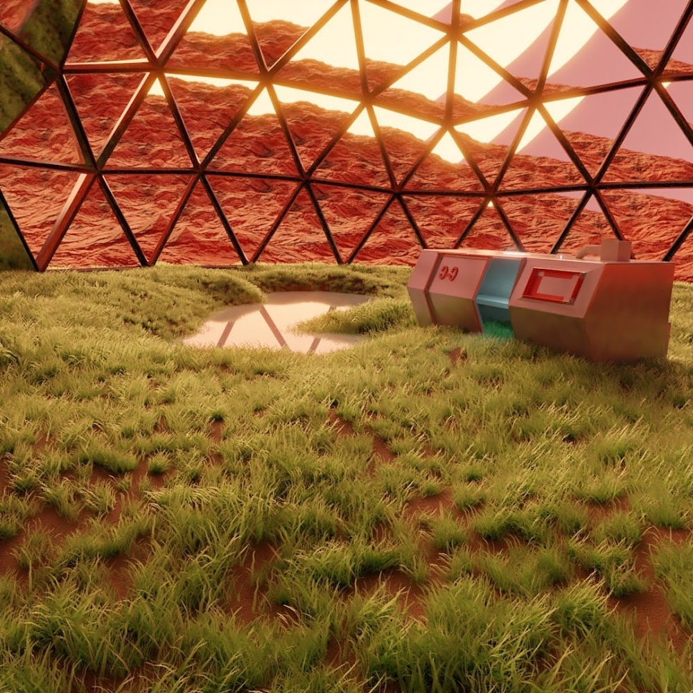 Small garden under a geodesic dome on Mars