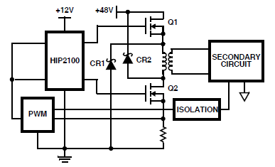 HIP2100 Two Switch Forward DC Converter