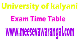 University of kalyani Diploma In Animation,Multimedia/Fine Arts(Painting) IIIrd Sem 2016 Exam Time Table