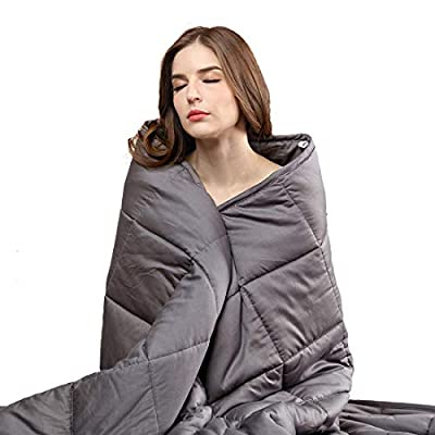 50% OFF Weighted Blanket 20/25 lbs for Adults, 100% Breathable Cotton Material with Premium Glass Beads - Grey