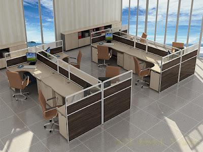 Văn phòng làm việc sang trọng và hiện đại với vách ngăn bàn làm việc