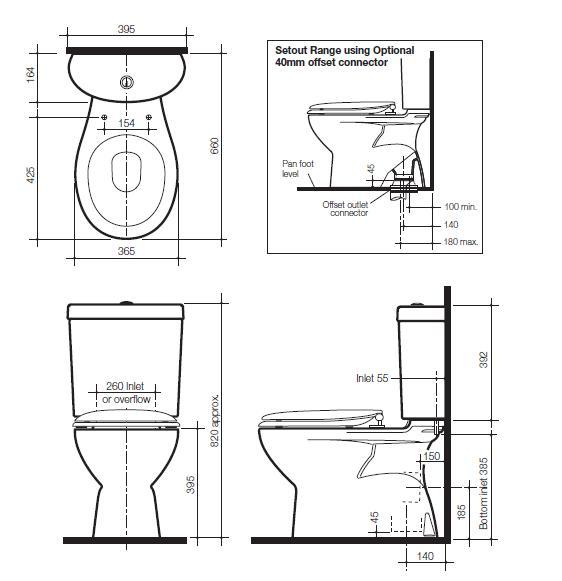 Modecor Toilet Suites: Caroma Profile 4 Deluxe Close