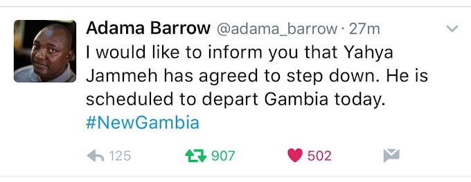 BREAKING: Gambia's Jammeh 'to quit and leave', says Adama Barrow