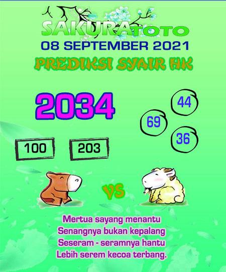 Syair HK Rabu 08 September 2021 -