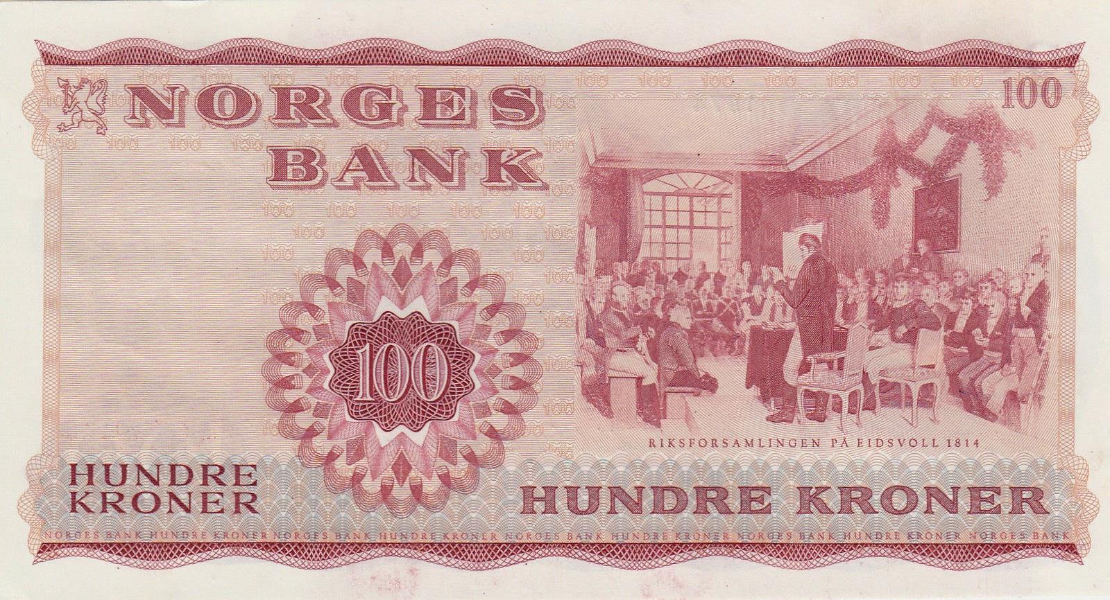Norway Banknotes 100 Kroner bank note 1974