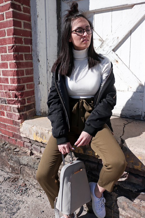Bomber Jacket and White Turtleneck for spring