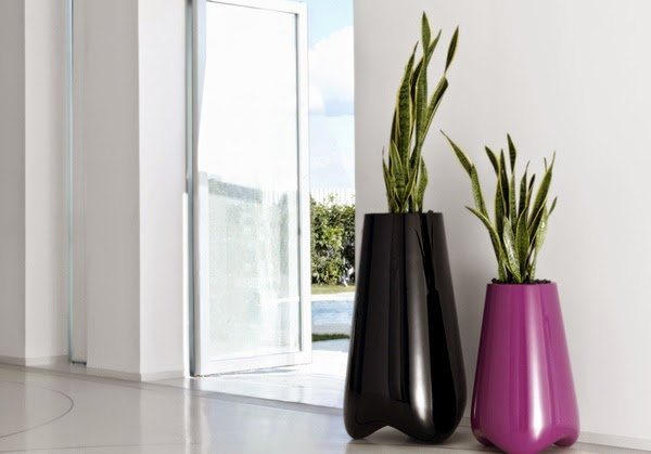 Large Floor Vase With Green plants