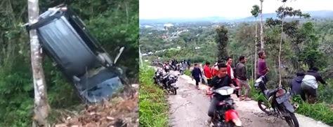 Kijang Innova Hilang Kendali, 1 Keluarga Terjun ke Jurang Sedalam 50 Meter