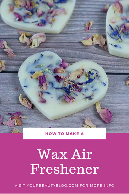 How to make a natural air freshener with soy wax, beeswax, and essential oils. If you need idea for a solid air freshener, this has dried herbs so it looks cute.  Use as a hanging air freshener or place in a bowl or in a dresser drawer. Use in the house or in the car. Make a home made long lasting air freshener for any room in your house or as a decoration or gift. This do it yourself (DIY) air freshener is easy to make and includes recipes for a fun blend of oils for scents. #airfreshener #diy #essentialoils