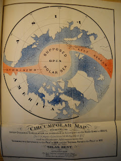 """A printed """"Circumpolar Map"""" in black, red, and blue."""