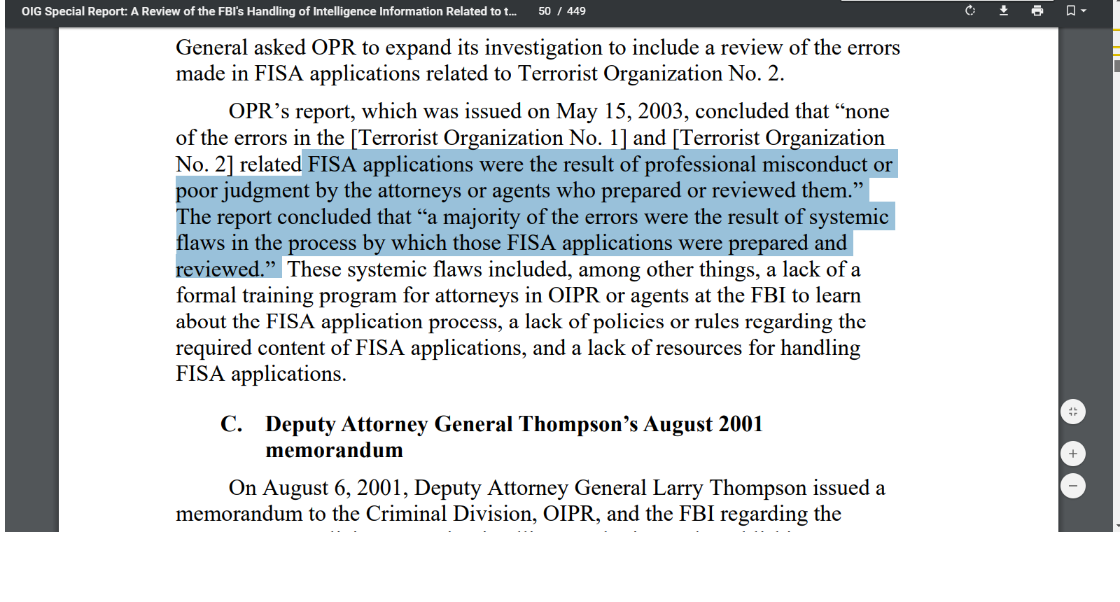 FISA Court's Concern About Accuracy of FISA Applications