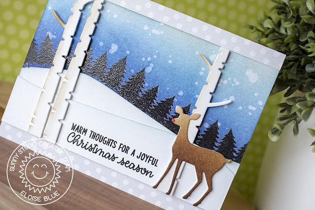 Sunny Studio Stamps: Here Comes Santa Foxy Christmas Rustic Winter Dies Snowy Hill Forest Scene Card by Eloise Blue
