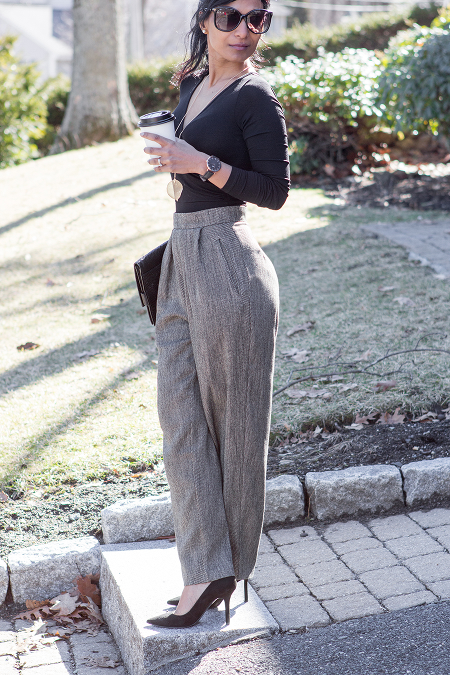 tweed trousers, trousers, tweed, high-waisted, black suede pumps, oversize clutch, black body suit, asos work wear, leaf necklace, tom ford sunglasses, coffee