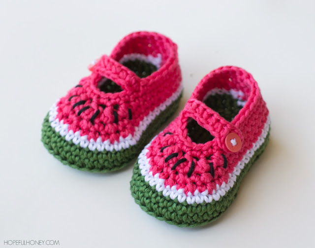 Crochet Baby Santa Booties Pattern : Hopeful Honey Craft, Crochet, Create: Watermelon Baby ...