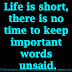 Life is short, there is no time to keep important words unsaid.