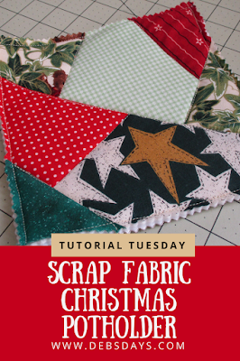 Scrap Fabric Quilted Patchwork Christmas Potholder Sewing Project