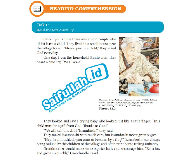 Terjemahan Cerita Issumboshi Chapter 12 Reading Comprehension Task 1 Hal 157-159