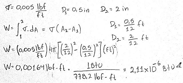 Una burbuja esférica de jabón con una tensión superficial de 0.005 lbf/ft se está expandiendo desde un diámetro de 0.5 in hasta un diámetro de 2.0 in. ¿Cuánto trabajo en Btu se necesita para expandir esta burbuja?