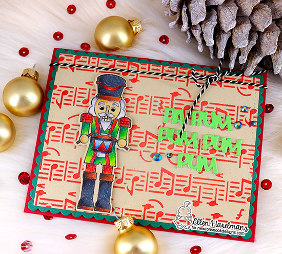 Nutcracker card by Ellen Haxelmans | Nutcrackers Stamp Set and Music Stencil by Newton's Nook Designs #newtonsnook #handmade