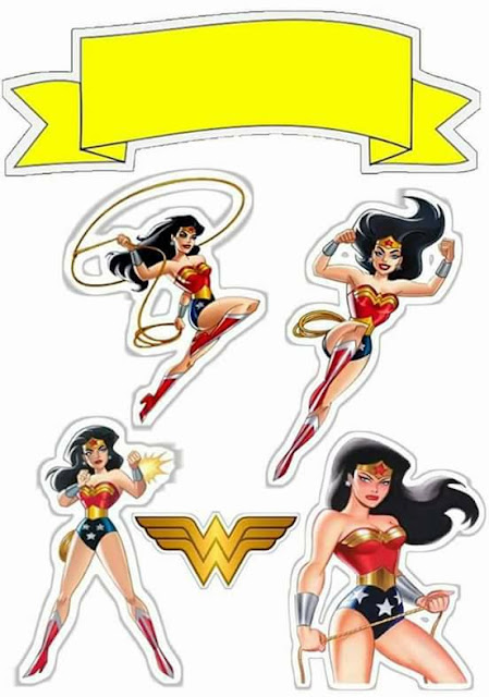 Wonder Woman Retro: Free Printable Cake Toppers.
